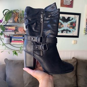 Black Leather Ankle Boots by Carlos Santana